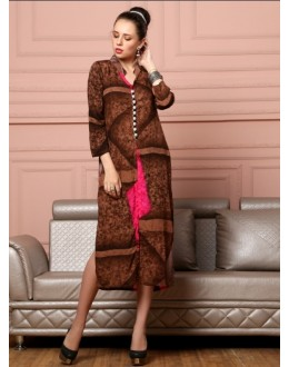Readymade Brown Cotton Kurti - Darpan2076